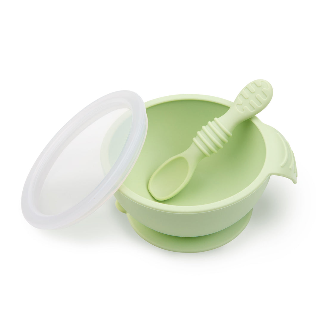 Silicone First Feeding Set with Lid & Spoon - Sage