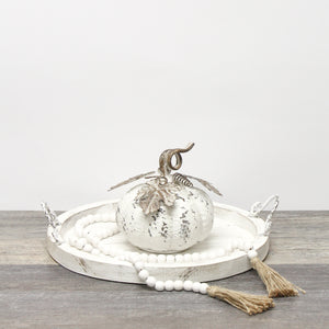 Vintage White Tin Pumpkin