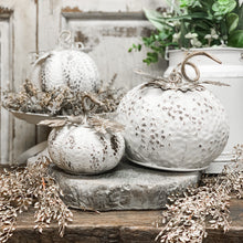 Load image into Gallery viewer, Vintage White Tin Pumpkin