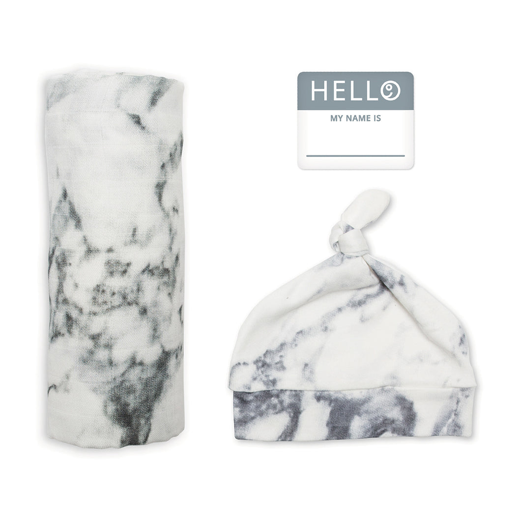 Hello World Blanket & Knotted Hat - Marble