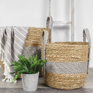 Straw Baskets with Grey Handle