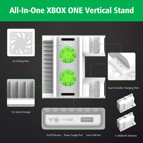 Vertical Cooling Stand Compatible with Xbox ONE X/Xbox ONE S/Regular Xbox ONE