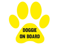 Doggie on board white internal car sticker 6.5cm x 7.5cm