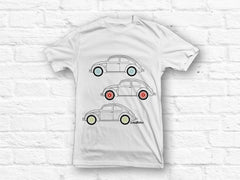 VW Beetle 3 colours car outline T-shirt