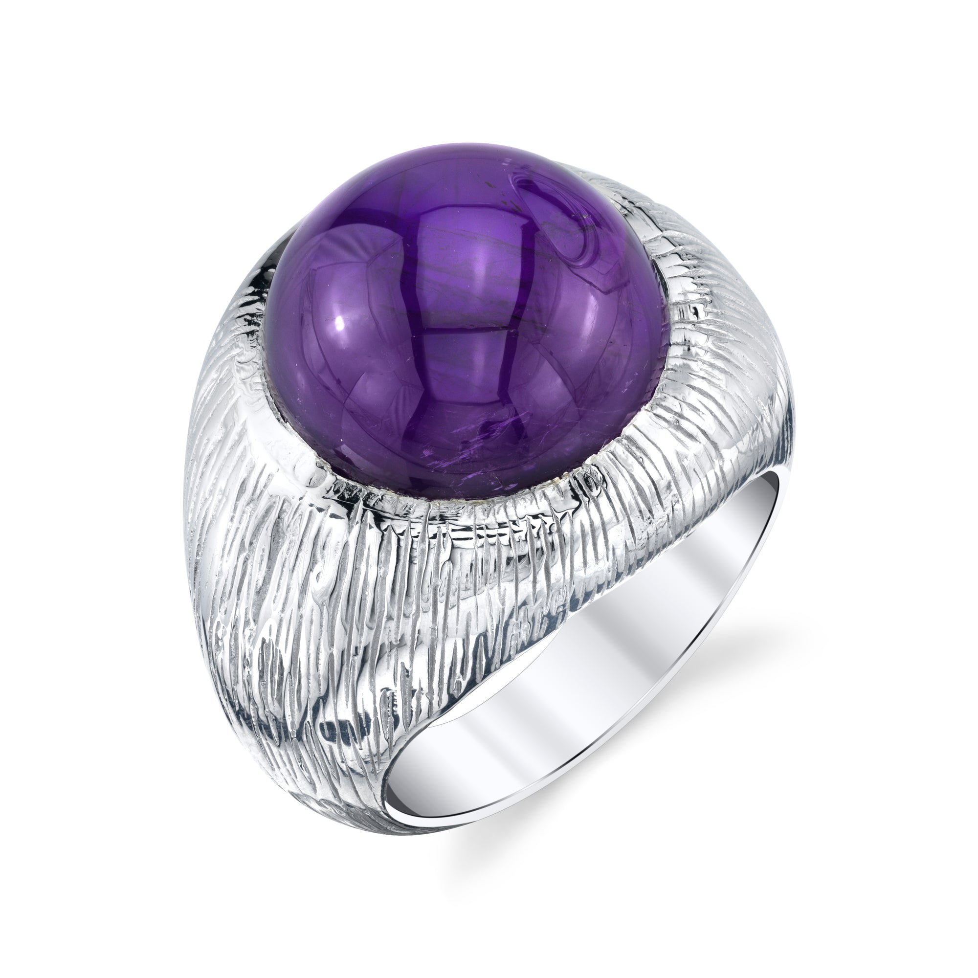 Brushed Men's Cabochon Ring