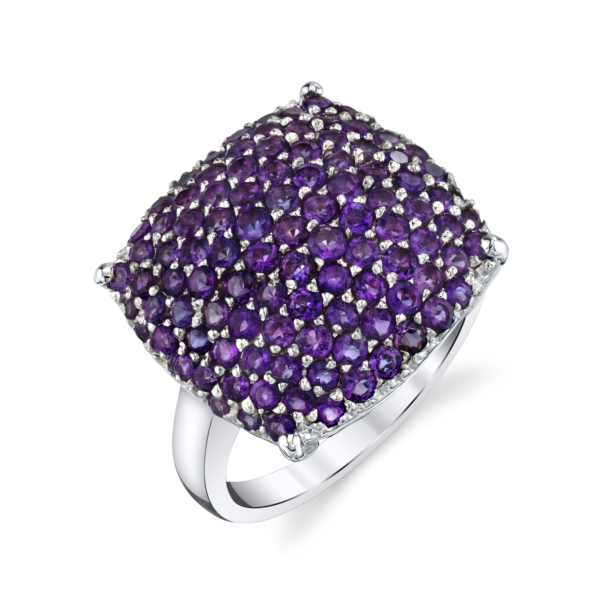 Square Amethyst Pave Ring