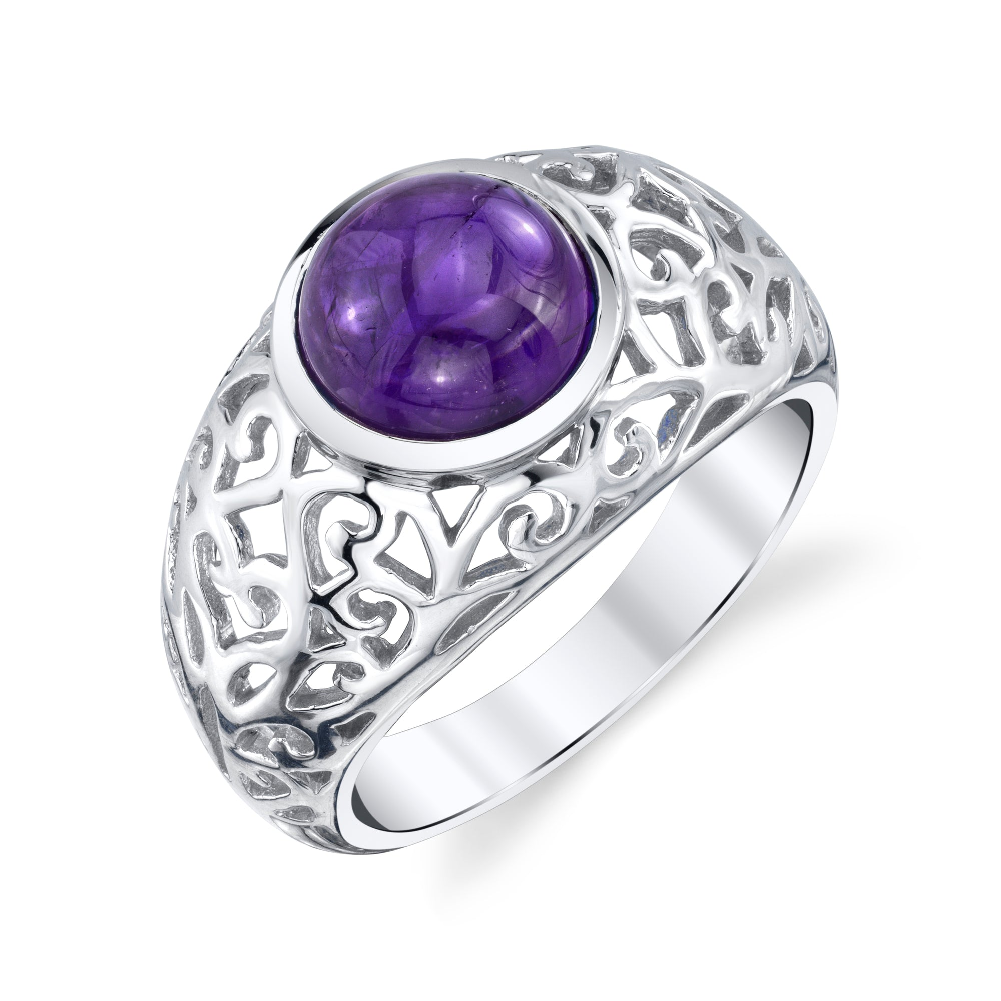 Filigree Men's Round Cabochon Ring