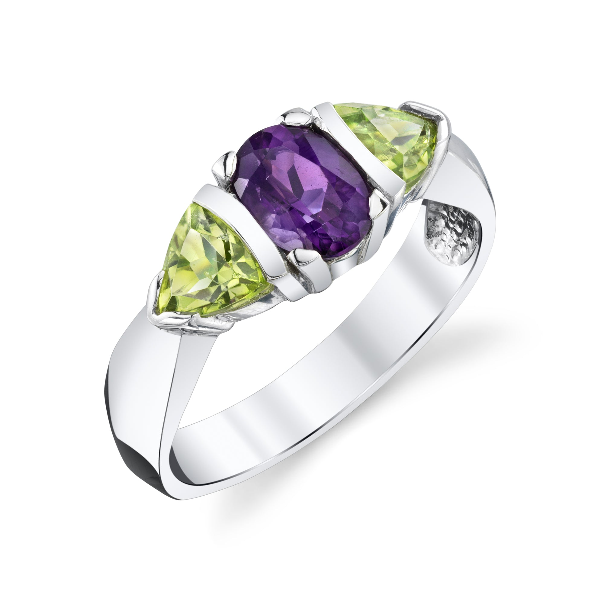 Three Stone Peridot and Amethyst Ring