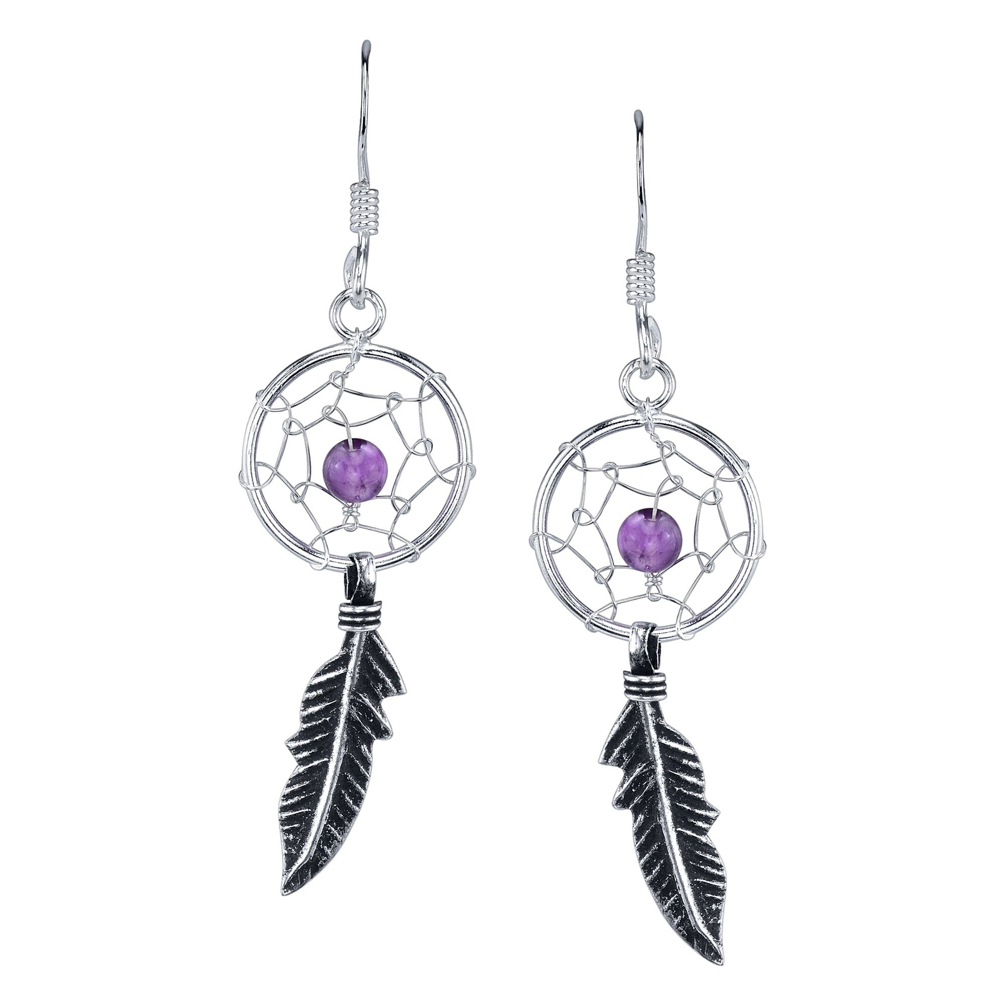 Amethyst Dream Catcher Earring