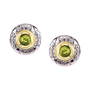 Round Gold and Silver Earrings