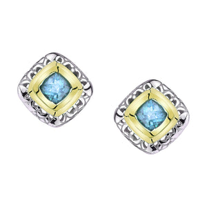 Square Gold and Silver Earrings