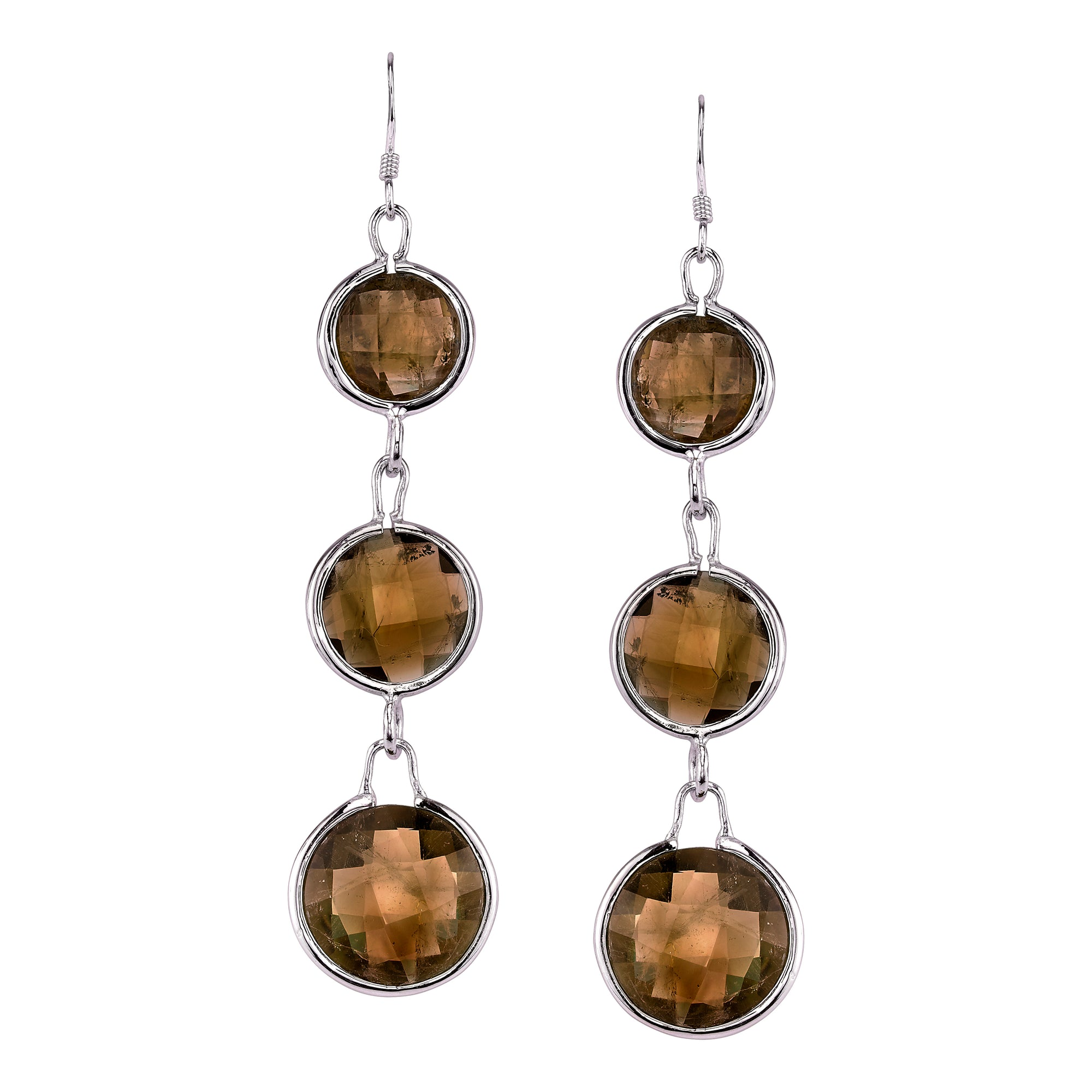 Three Stone Faceted Round Earrings