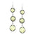 Three Stone Faceted Square Earrings