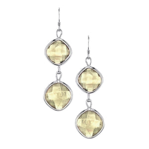 Double Faceted Square Drop Earrings