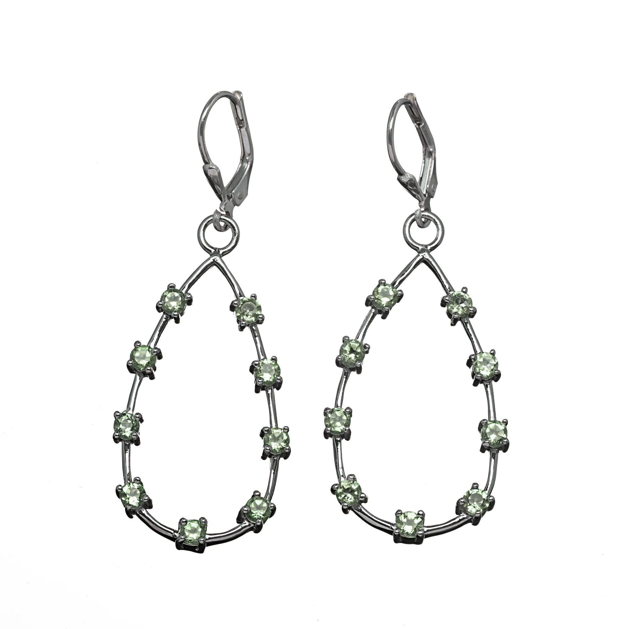 Teardrop Stone Hoop Earrings