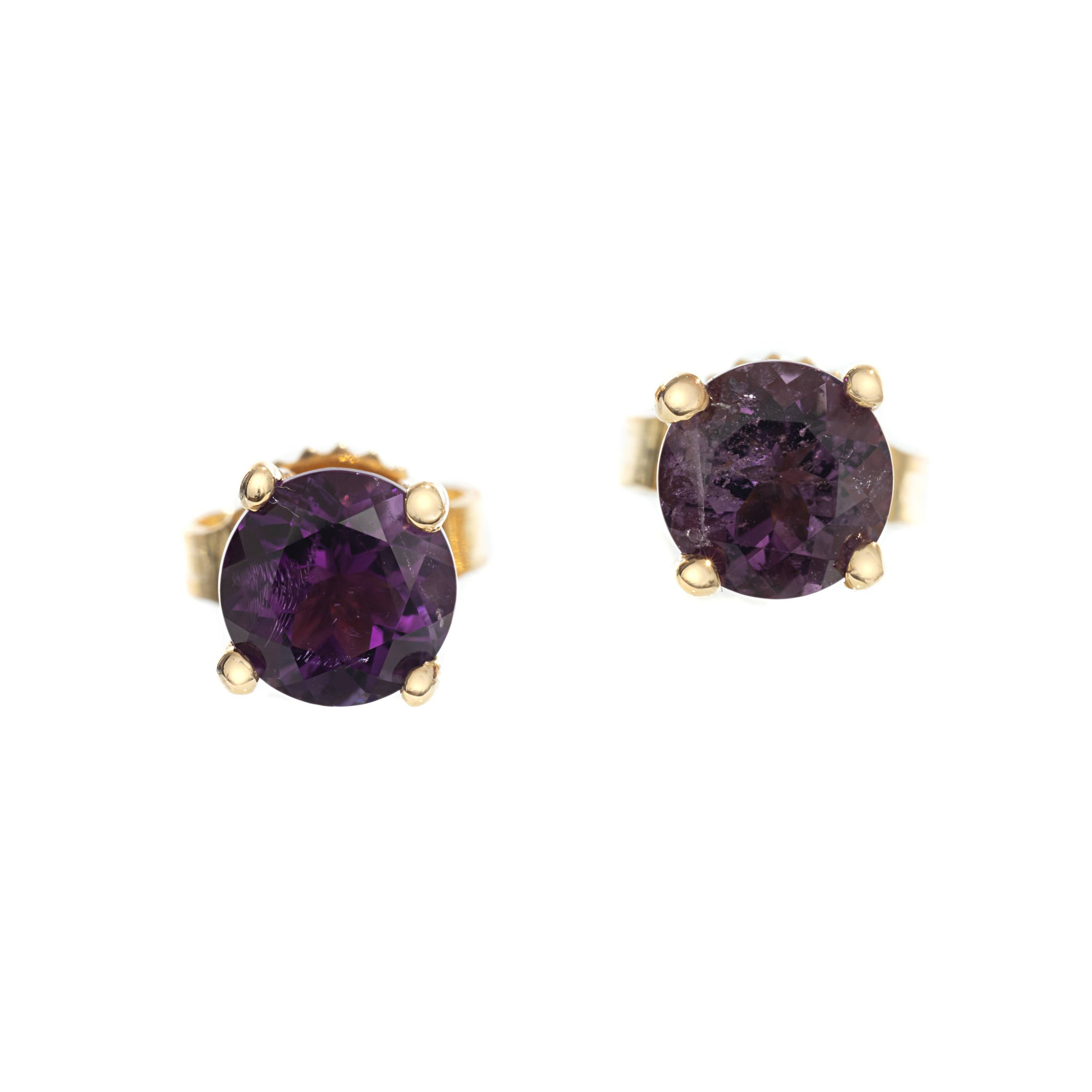Amethyst Studs in Gold