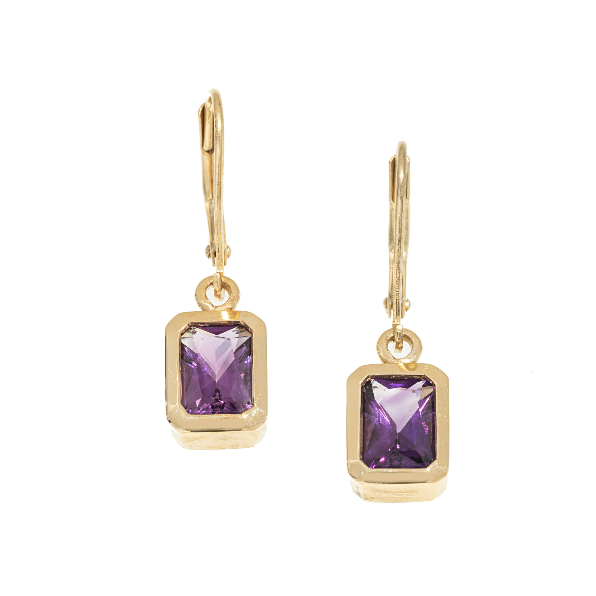 Gold Radiant Amethyst Dangle Earrings