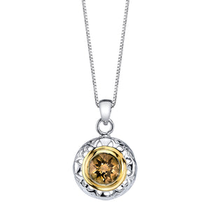 Round Silver and Vermeil Pendant