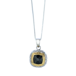 Square Silver and Vermeil Pendant