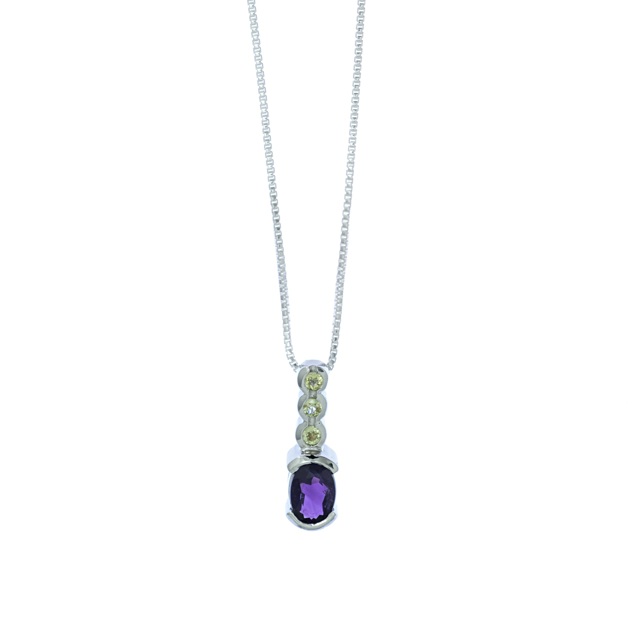 Amethyst and Peridot Four Stone Pendant