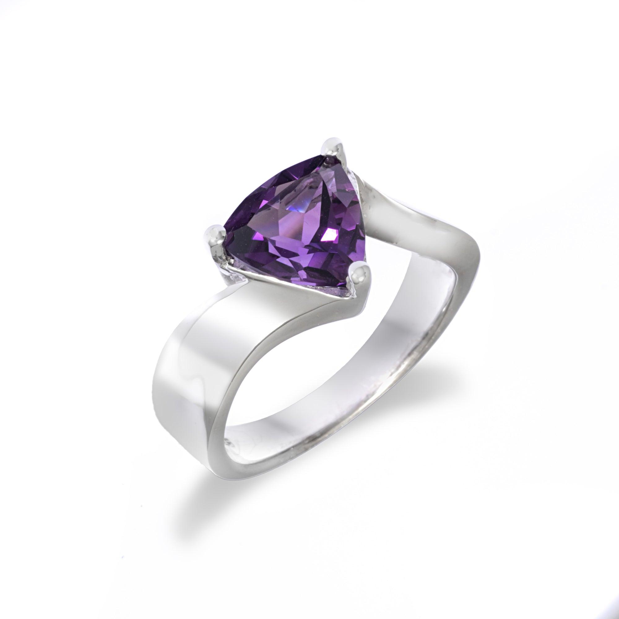 Amethyst Trillion Solitaire Ring