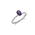 Beaded Solitaire Amethyst Ring