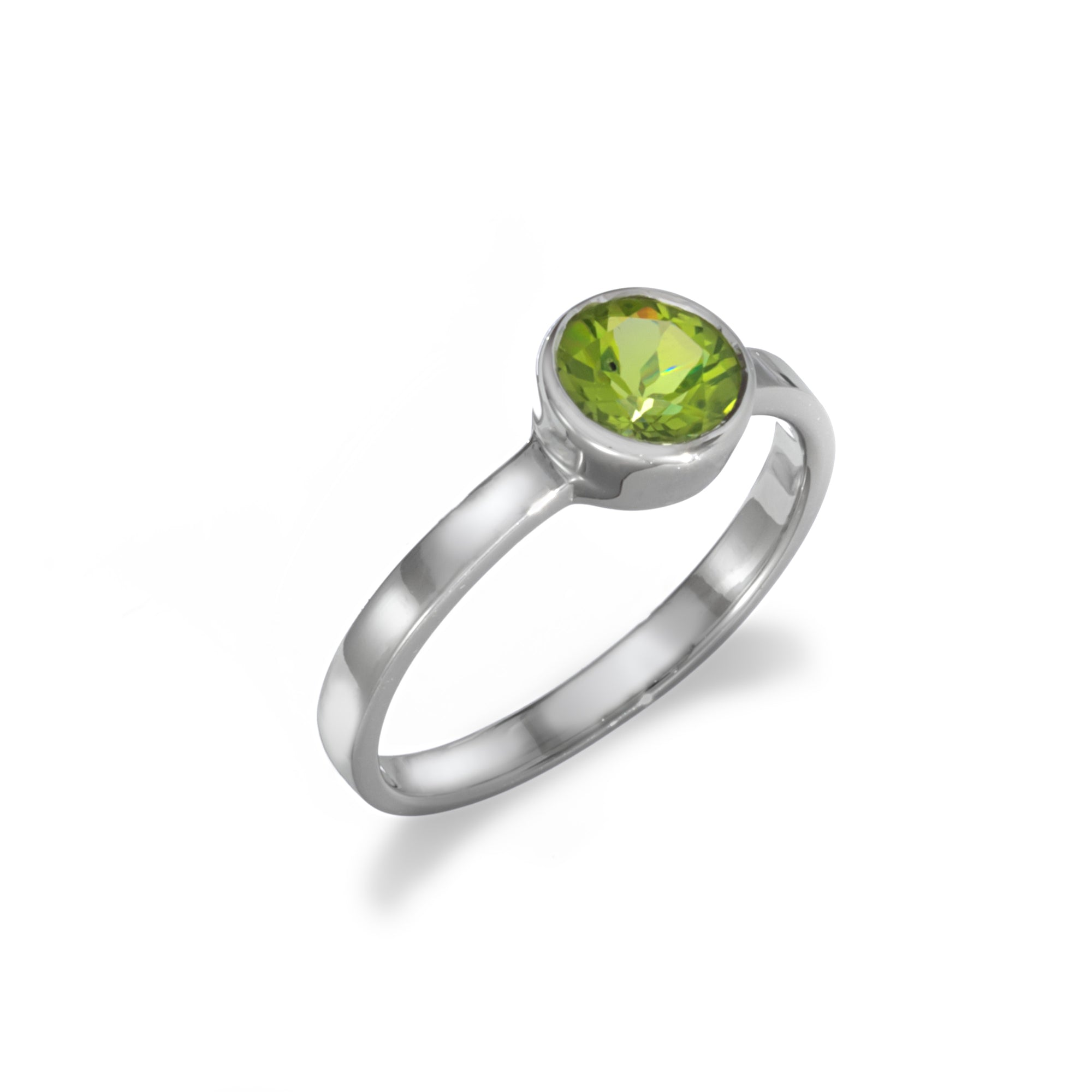 Bezel Set Peridot Solitaire Ring