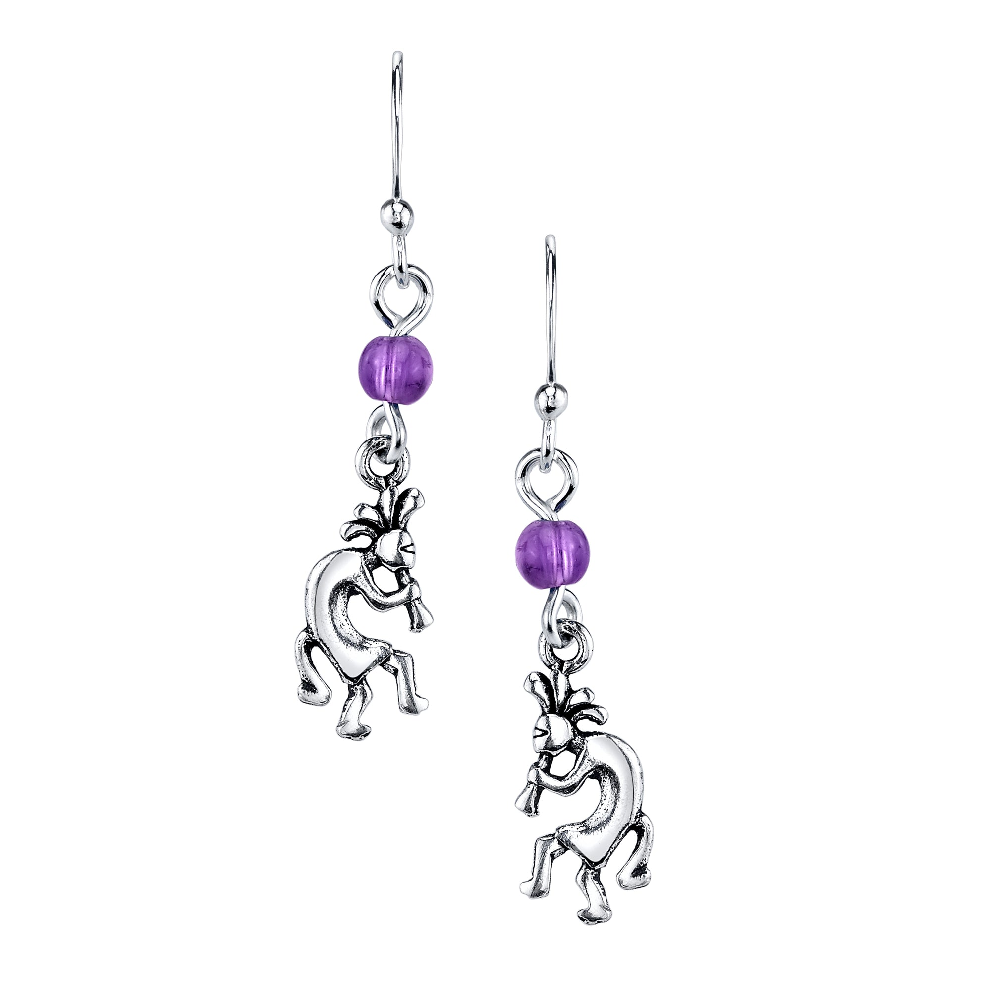 Kokopelli and Amethyst Earring