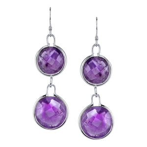 Double Faceted Round Drop Earrings