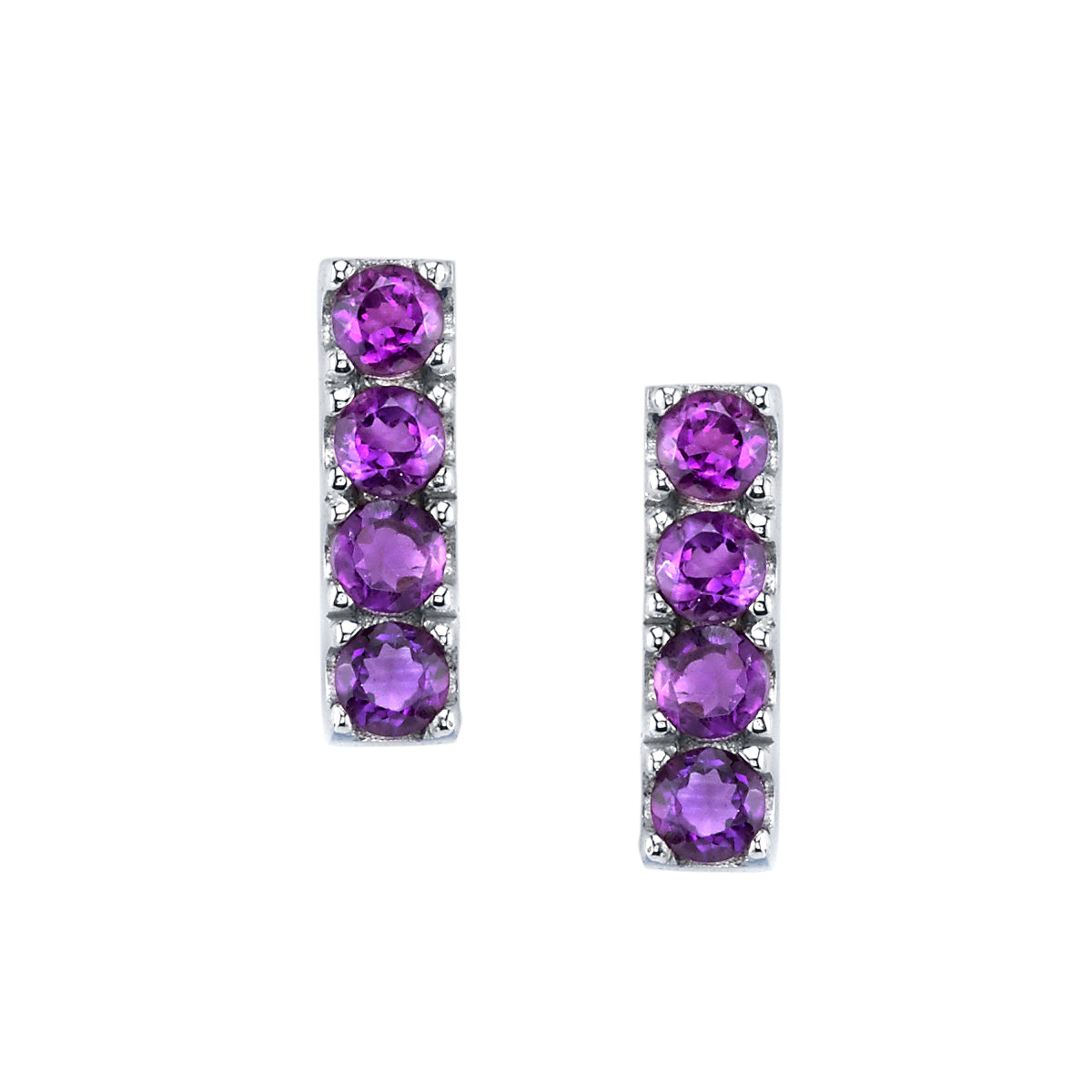 Four Stone Stud Earrings