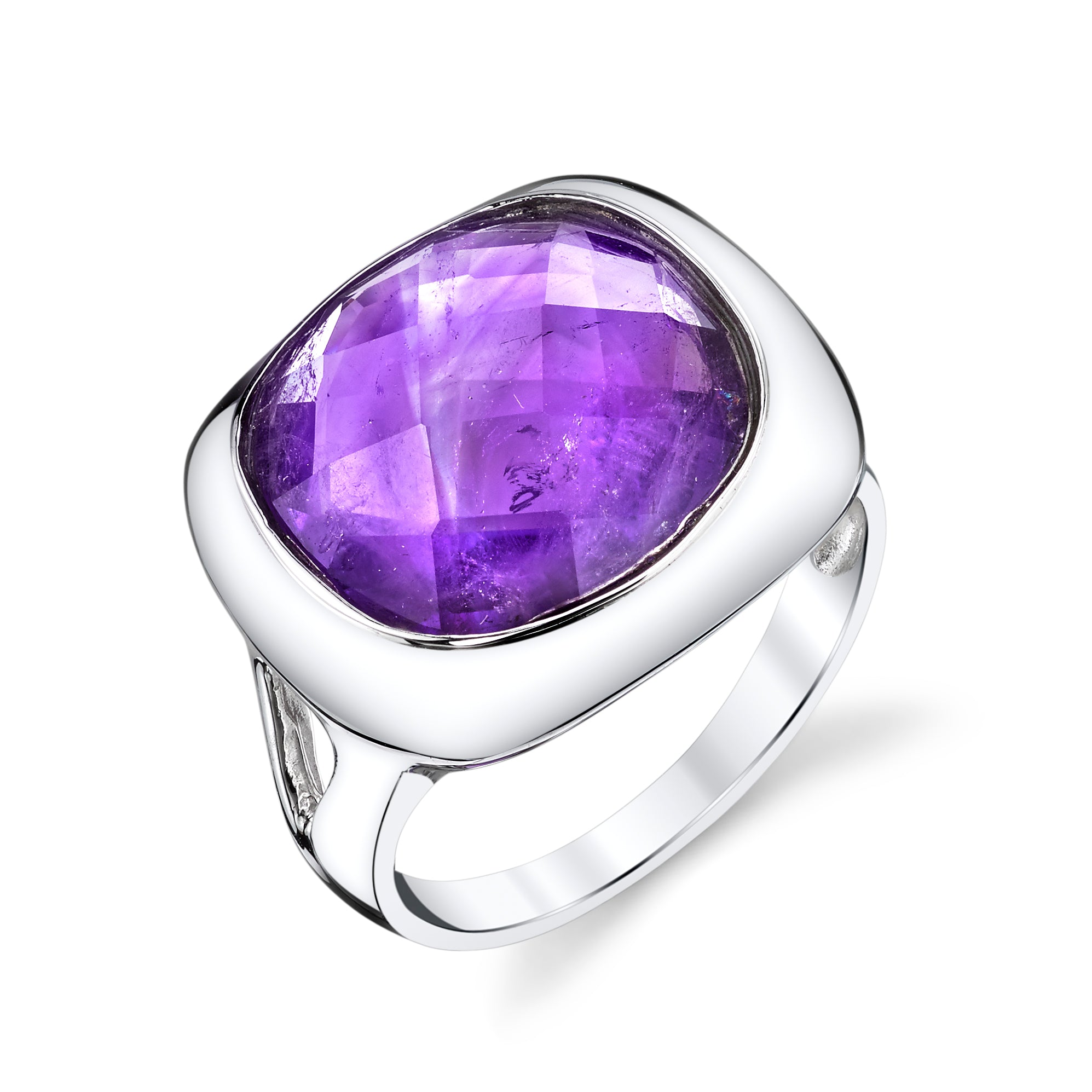 Checkerboard Cushion Cut Amethyst Ring