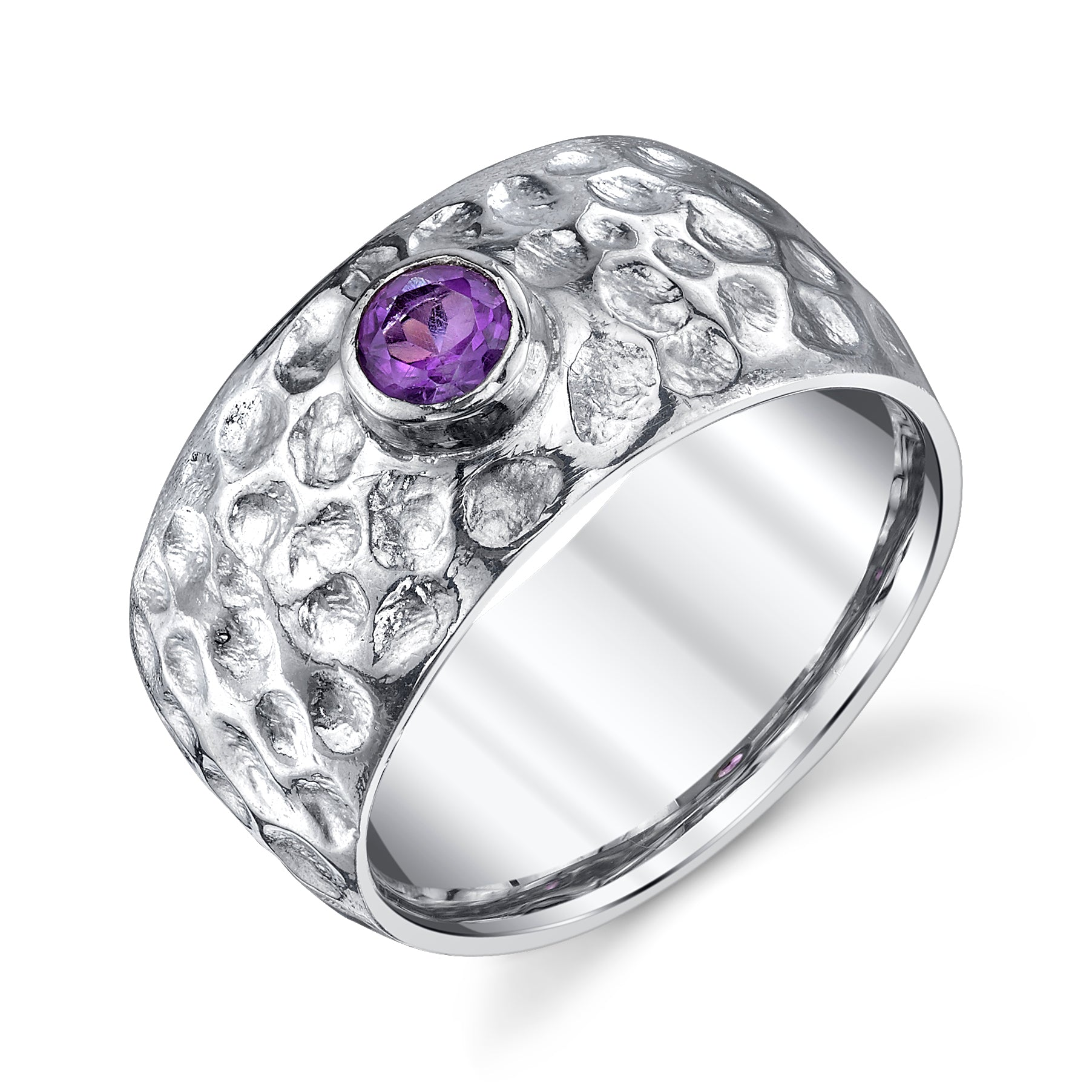 Wide Hammered Band Amethyst Ring