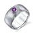 Wide Brushed Band Amethyst Ring