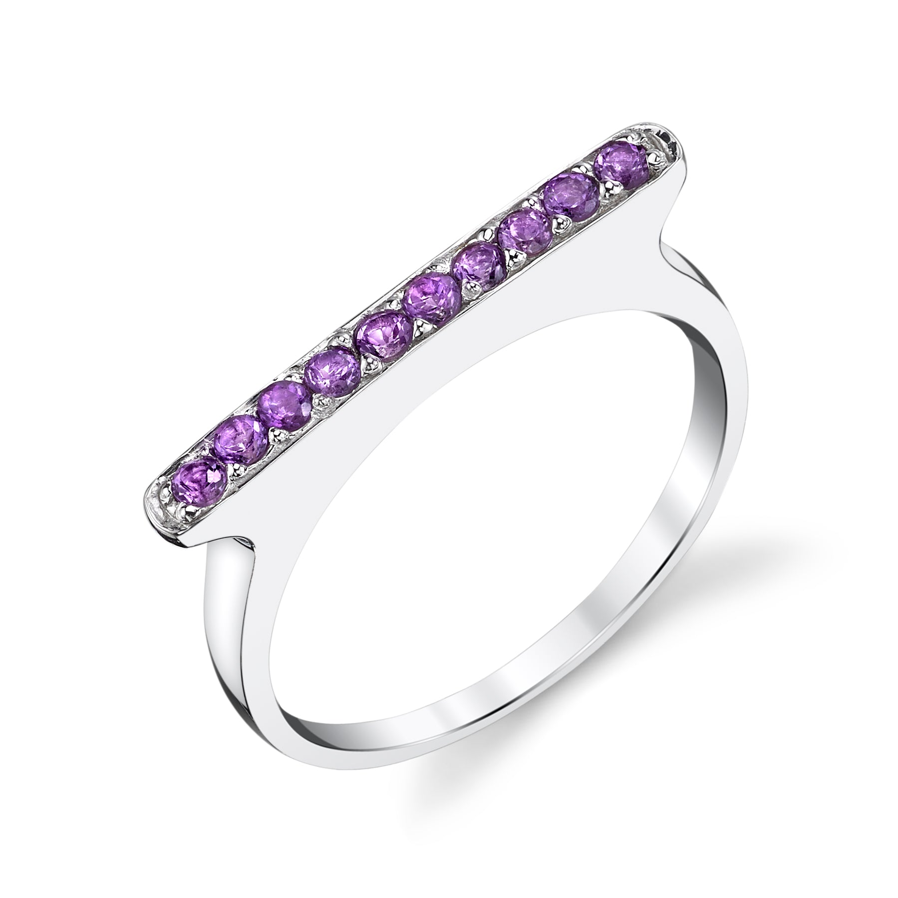 Ten Stone Amethyst Pave Bar Ring