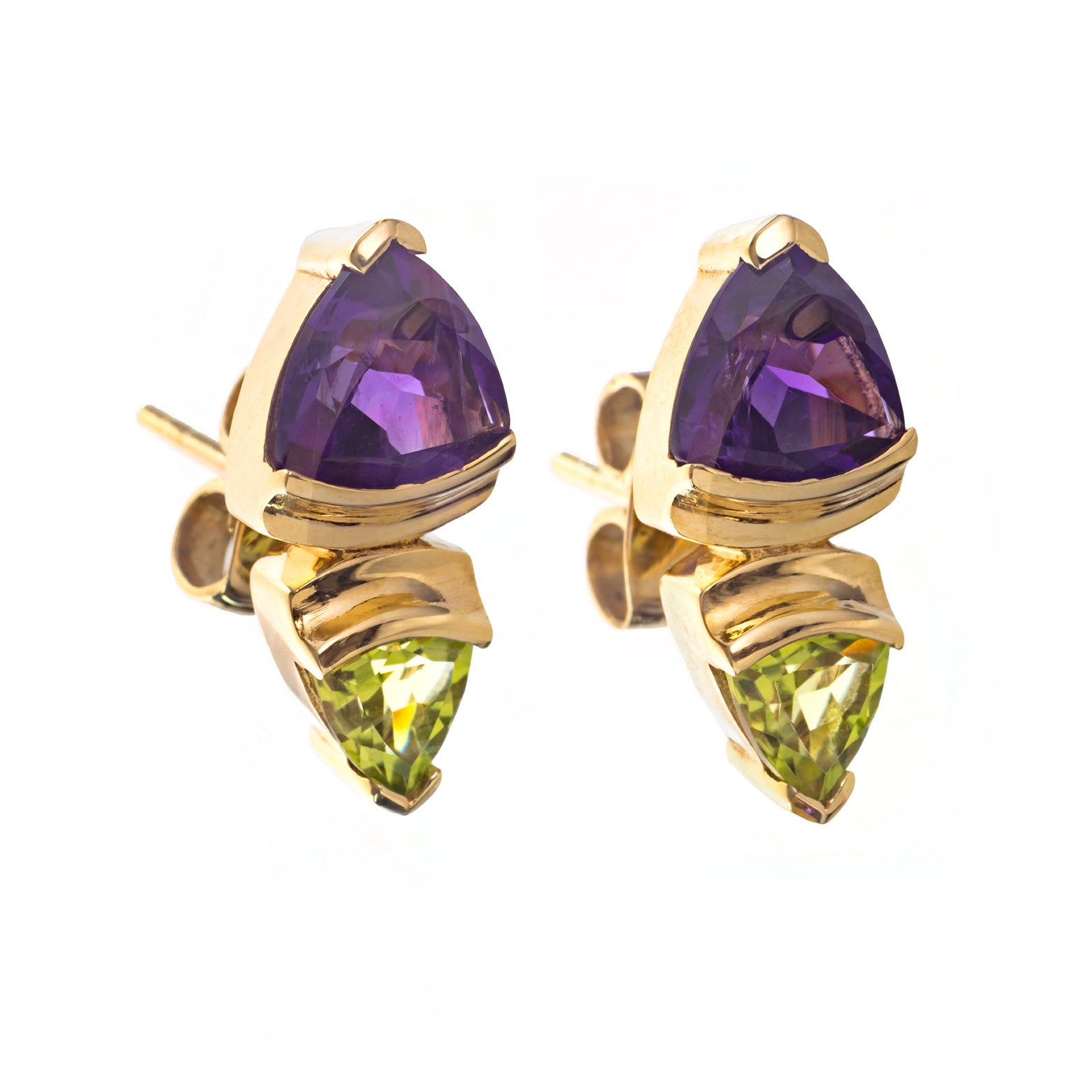 Gold Amethyst and Peridot Trillion Earrings