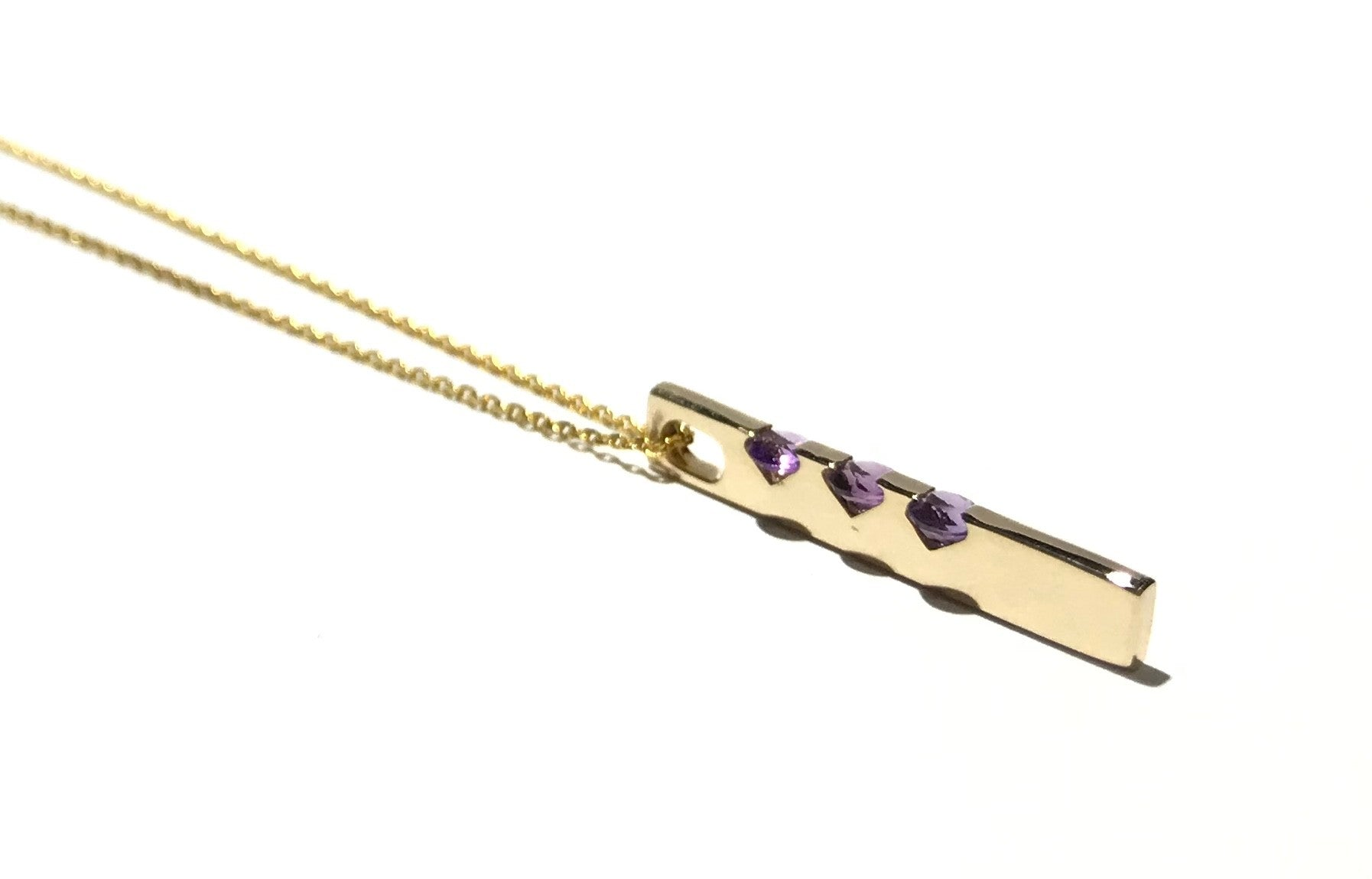 Gold Bar Pendant with Amethyst