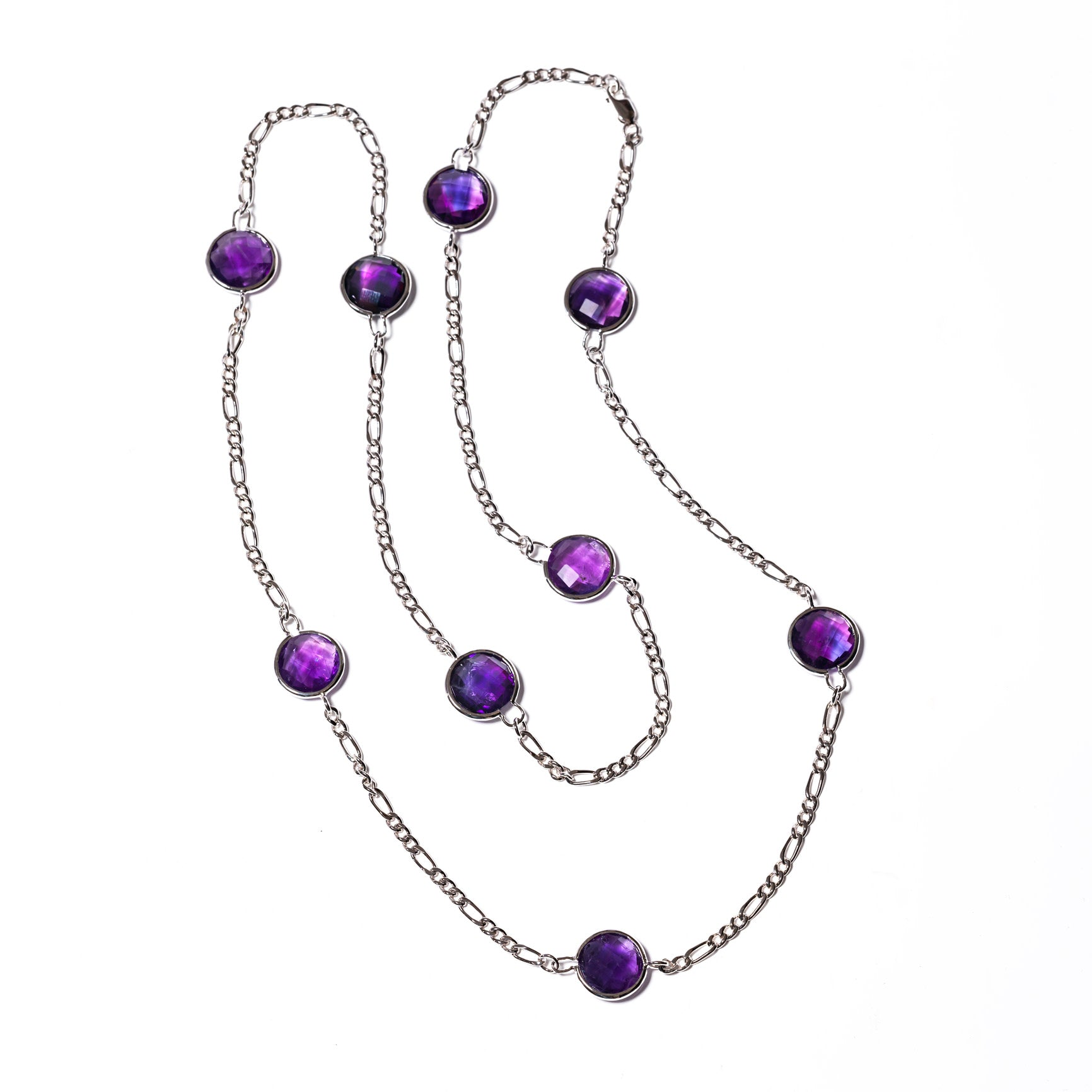 Round Faceted Amethyst Station Necklace