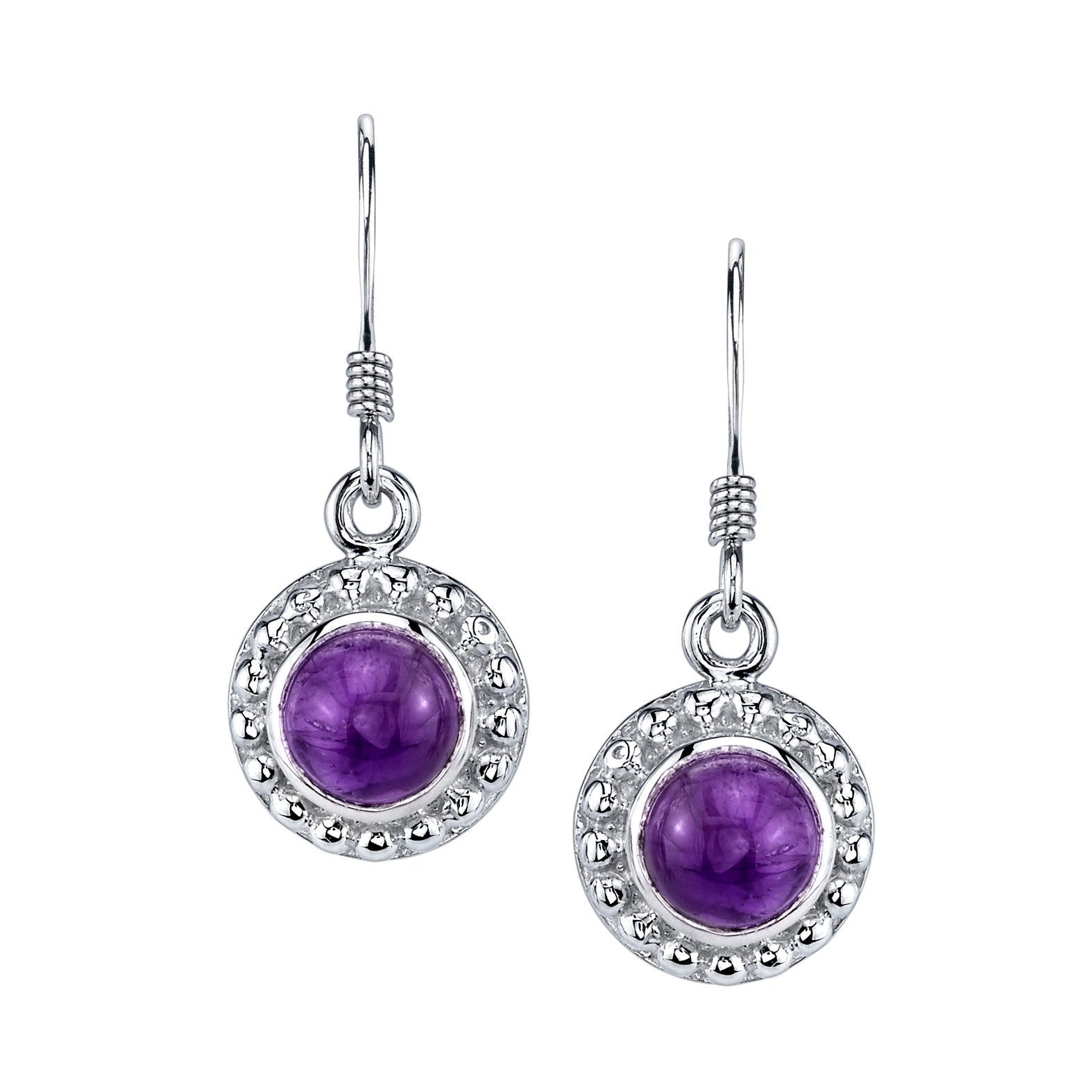 Cabochon Amethyst Drop Earrings