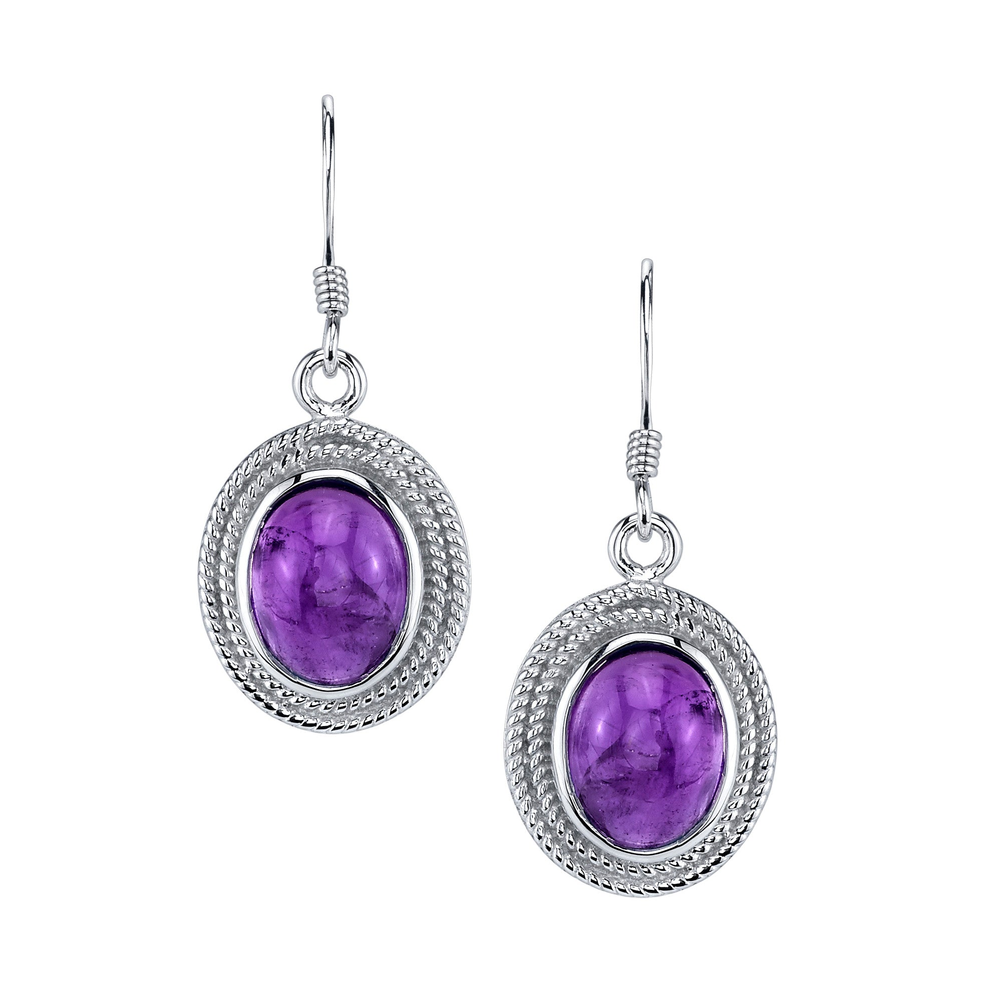 Oval Cabochon Amethyst Drop Earrings