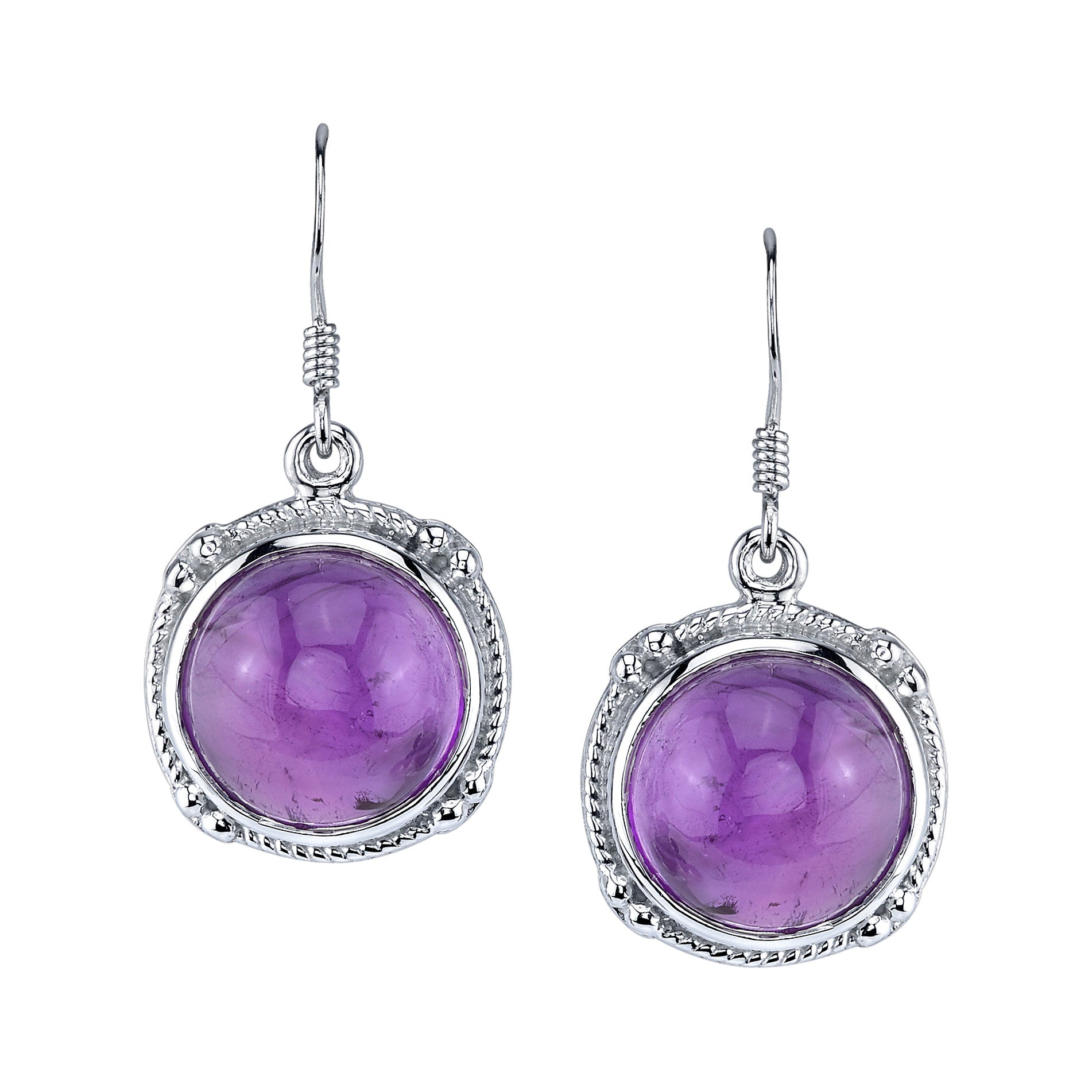 Round Amethyst Cabochon Drop Earrings