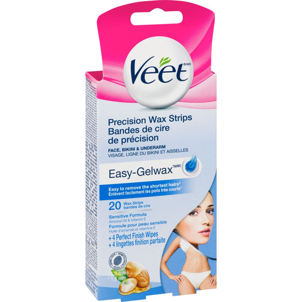 VEET Precision Wax Strips 20 Wax Strips + 4 Perfect Finishing Wipes