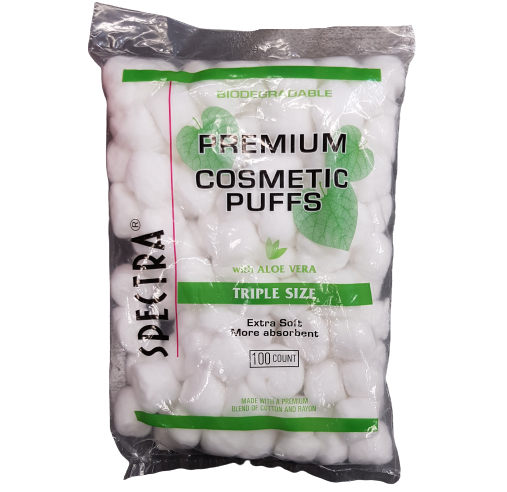 Spectra Biodegradable Premium Cosmetic Puffs Cotton Balls 100pcs