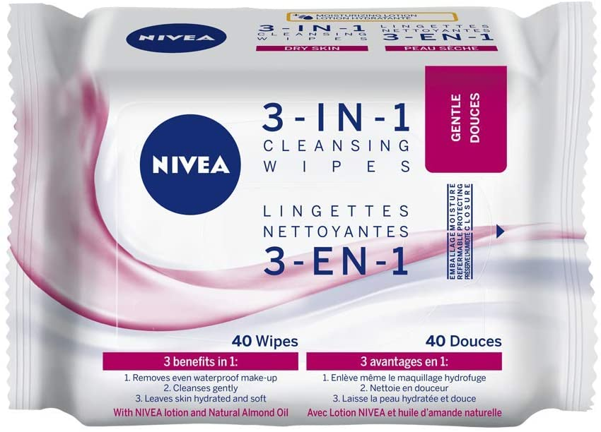 Nivea 3 in 1 Cleansing Wipes Gentle (40 wipes)