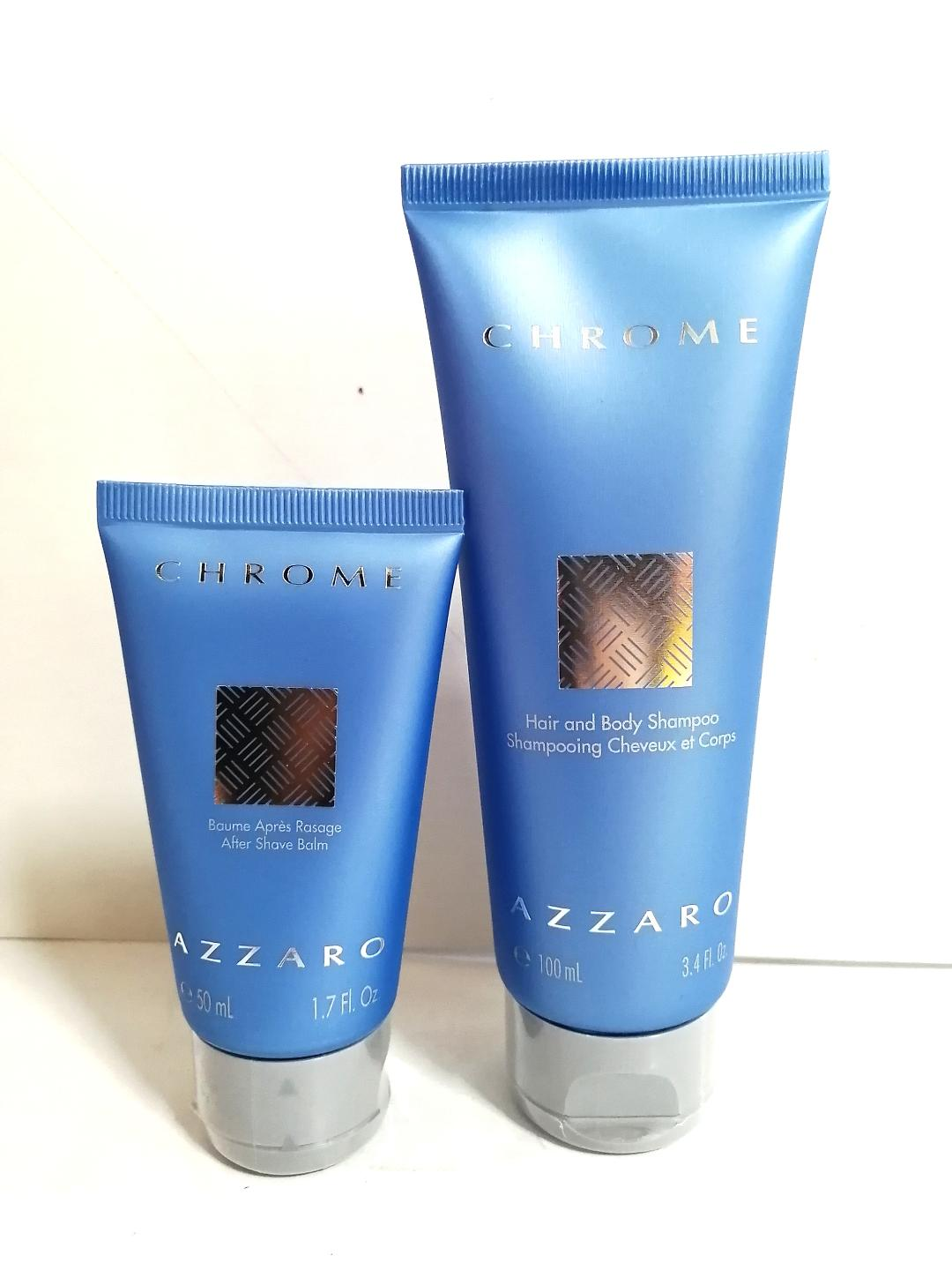 Azzaro Chrome Two Tubes 100ml Hair and Body Shampoo with 50ml After Shave Balm Unboxed