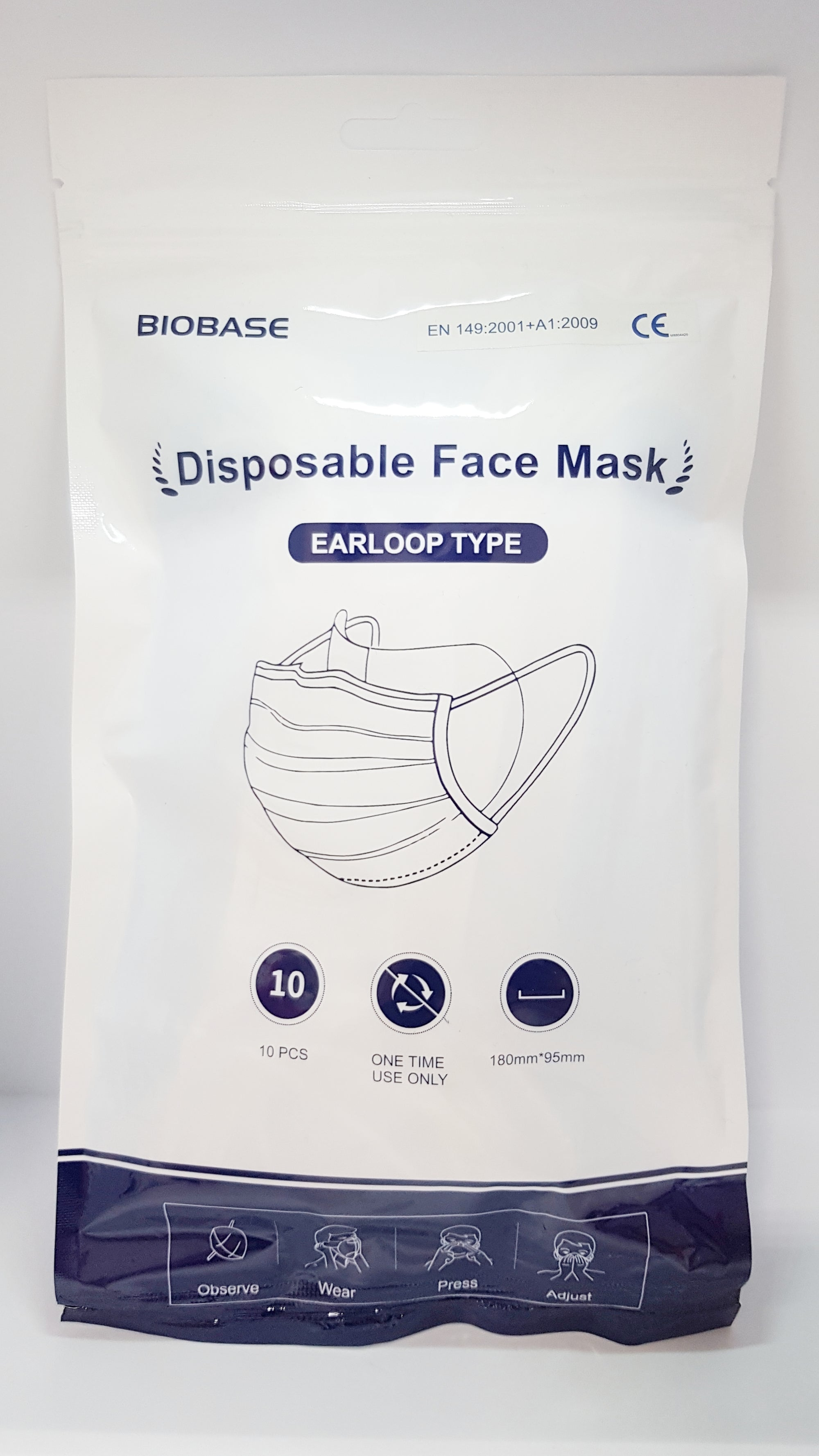 BIOBASE Disposable 3-ply Face Mask 10-pack x10 packs