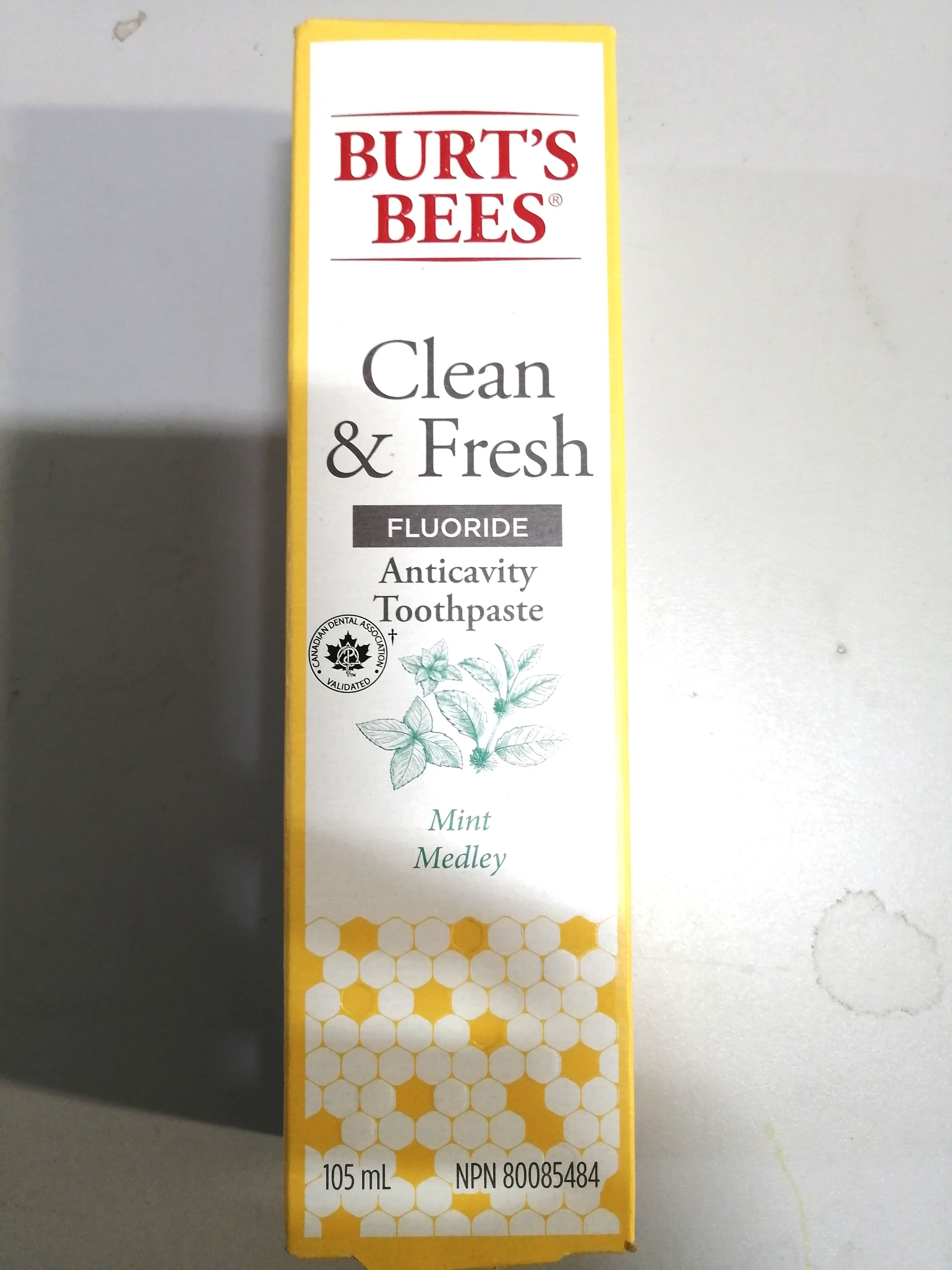 Burt's Bees Clean & Fresh Fluoride Anticavity Toothpaste Mint Medley 105mL