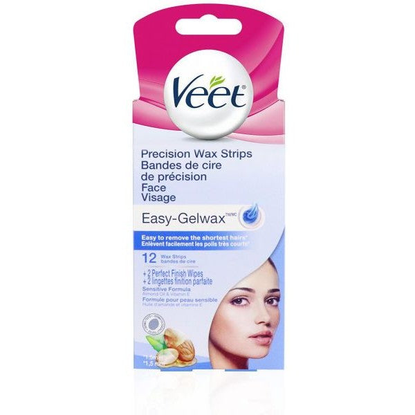 VEET Precision Wax Strips Easy-Gelwax 12 Wax Strips + 2 Perfect Finish Wipes
