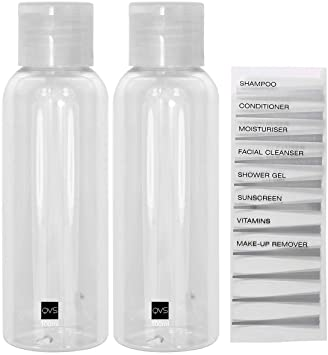 QVS 2 Travel Bottles 100ml Flip-Top
