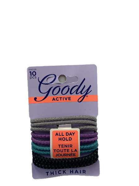 Goody Active Hair Ties for Thick Hair in Grey, Purple, Aqua, and Black 10pcs