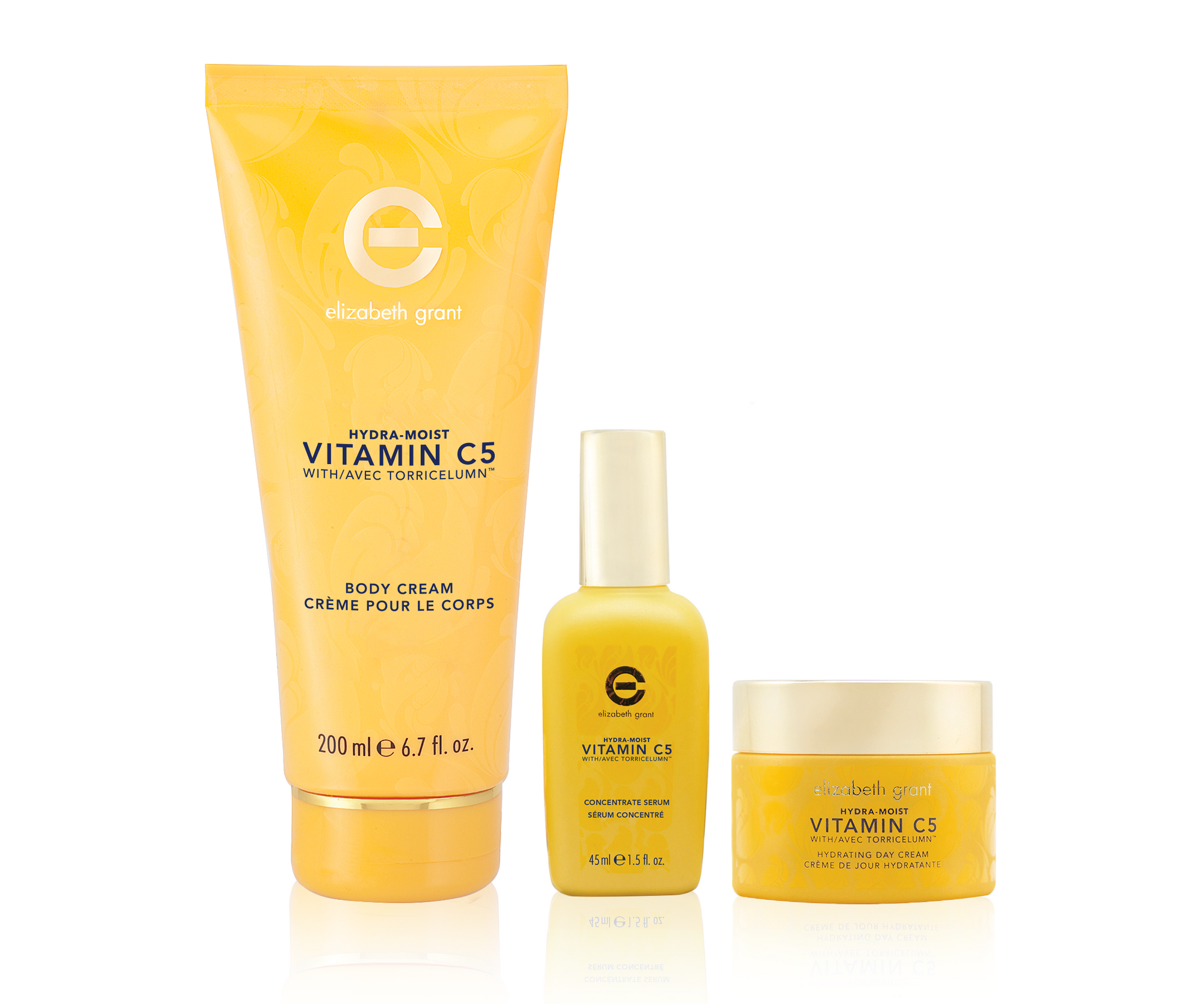 ELIZABETH GRANT Vitamin C5 Hydra-Moist KIT - Vitamin C5 All-Day Cream 50ml, Face Serum 45ml & Body Cream 200ml